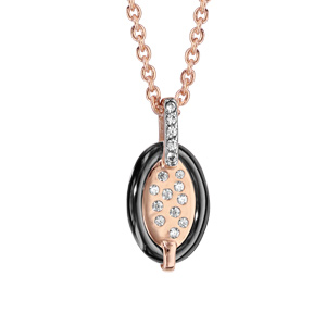 Collier en plaqué or rose chaîne avec pendentif ovale en céramique noire et éclats d\'oxydes blancs sertis - longueur 42cm + 3cm de rallonge - Vue 1