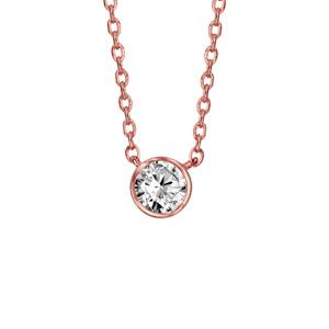 16460adbe1f36 Collier en plaqué or rose chaîne avec pendentif oxyde blanc de 5mm serti  clos - longueur 38cm ...