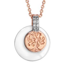 0e5fb9a615472 Collier en plaqué or rose chaîne avec pendentif rond en céramique blanche  avec 1 rond plus petit gravé motif arbre de vie superposé et avec bélière  ornée ...