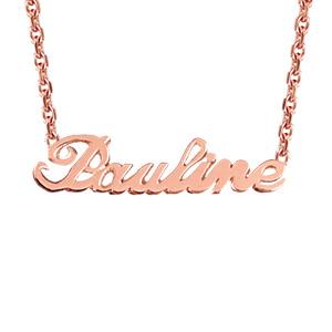 Collier en plaqué or rose chaîne maille forçat avec découpe anglaise 1 prénom - longueur 40cm + 3cm de rallonge - Vue 1