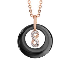 Collier en plaqué or rose pendentif rond céramique noire évidé avec infini oxydes blancs sertis 42+3cm - Vue 1