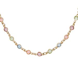 Collier en plaqué or tutti frutti couleurs pastelles 40+5cm - Vue 1