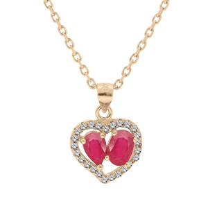 Collier en vermeil chaîne avec pendentif coeur de Rubis véritables et contour de Topazes blanches serties 42+3cm - Vue 1