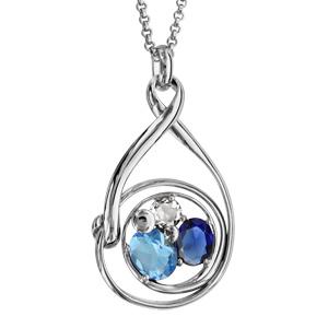Collier finition argentée rhodié pendentif spirale verres taillés main bleus - longueur 42+3cm - Vue 1