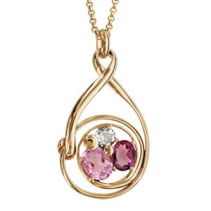 Collier finition dorée pendentif spirale verres taillés main rose/violet - longueur 42+3cm - Vue 1