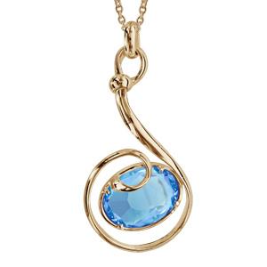 Collier finition dorée pendentif volute verre taillé main bleu clair - longueur 42+3cm - Vue 1