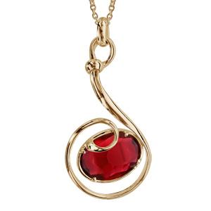 Collier finition dorée pendentif volute verre taillé main rouge - longueur 42+3cm - Vue 1