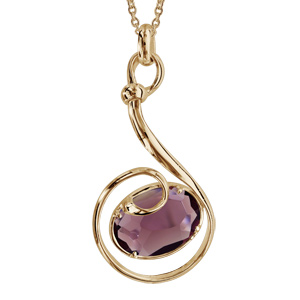 Collier finition dorée pendentif volute verre taillé violet - longueur 42+3cm - Vue 1
