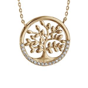 Collier plaqué or arbre de vie oxydes blancs sertis - longueur 40+5cm - Vue 1