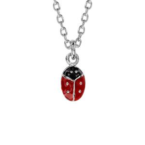 Collier pour enfant en argent chaîne avec pendentif coccinelle - longueur 36cm + 2cm de rallonge - Vue 1