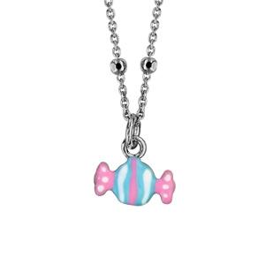 revendeur 09ef4 21777 Collier pour enfant en argent rhodié chaîne avec pendentif bonbon bleu ciel  et rose - longueur 37cm + 3cm de rallonge