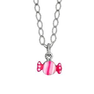 revendeur 30b34 bf948 Collier pour enfant en argent rhodié chaîne avec pendentif bonbon rose -  longueur 37cm + 3cm de rallonge