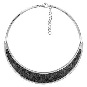 Collier semi-rigide en acier avec demi lune en cuir noir - taille réglable