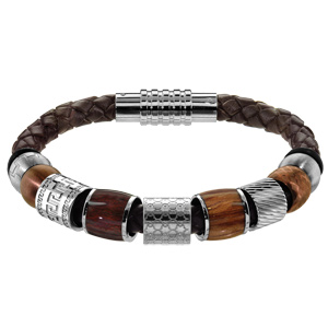 Composition bracelet Charms Thabora pour Homme cuir et acier marron - Vue 1