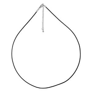 Cordon en caoutchouc et fermoir en acier - largeur 1,5cm et longueur 45cm + 4cm de rallonge - Vue 1