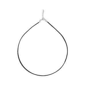 Cordon en coton noir lisse et fermoir en argent rhodié - longueur 40cm + 5cm de rallonge - Vue 1