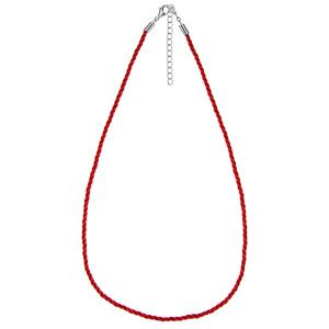 Cordon en coton rouge et fermoir en argent rhodié - largeur 2mm et longueur 42cm + 5cm de rallonge - Vue 1