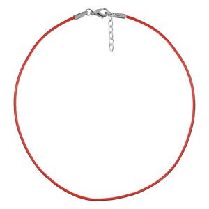 Cordon en coton rouge plastifié souple et fermoir en acier - longueur 40cm + 5cm de rallonge - Vue 1