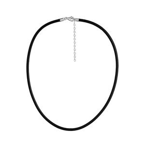 Cordon en cuir noir et fermoir en argent rhodié - largeur 3mm et longueur 50cm + 5cm de rallonge - Vue 1