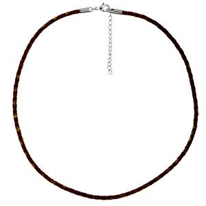 Cordon en cuir tressé marron et fermoir en acier - longueur 45cm + 5cm de rallonge - Vue 1