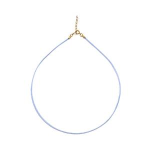 Cordon soie lisse couleur bleu ciel plaqué or - Vue 1