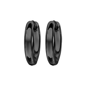 Créoles articulées en acier et PVD noir fil lisse - largeur 3mm et diamètre anneaux 12mm