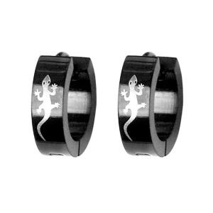 Créoles articulées en acier noir motif salamandre - Vue 1