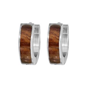 Créoles en acier articulées avec décoration bois - Vue 1