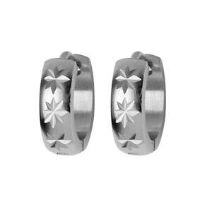 Créoles en acier articulées légèrement bombées diamantage motifs étoilés - Vue 1