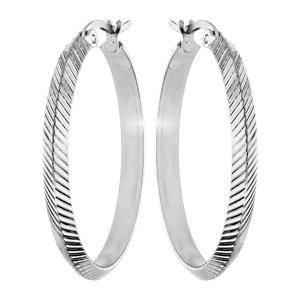 Créoles en acier diamantée striée diamètre 32mm