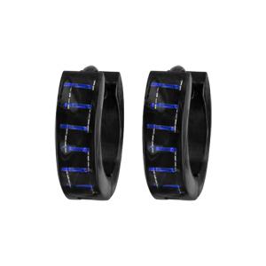 Créoles en acier et carbone reflet couleur bleu
