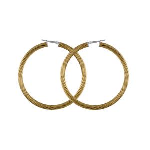 Créoles en acier et PVD jaune fil tosadé - largeur 3mm et diamètre anneaux 55mm