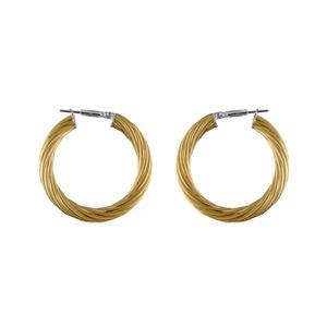 Créoles en acier et PVD jaune fil tosadé - largeur 4mm et diamètre anneaux 25mm