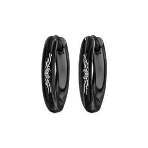 Créoles en acier et PVD noir fil rond 3mm articulées diamètre extérieur 12mm motif tribal - Vue 1