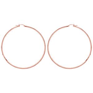 Créoles en acier et PVD rose fil 2mm diamètre 70mm