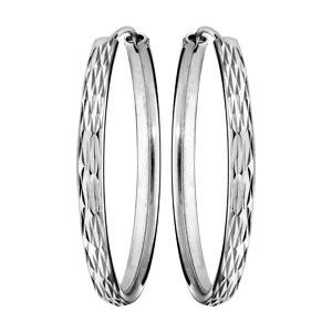 Créoles en Argent rhodié fantaisie ruban diamanté large 33mm - Vue 1