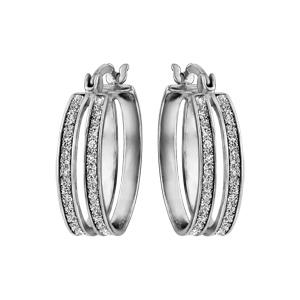 Créoles en argent rhodié fantaisies 2 anneaux en glitter blanc - Vue 1