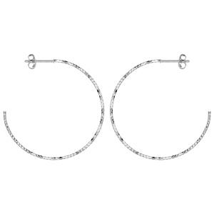 Créoles en Argent rhodié fantaisies diamanté avec tige et poussette diamètre 41mm - Vue 1