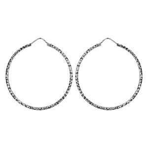 Créoles en Argent rhodié fantaisies diamantées 46mm - Vue 1