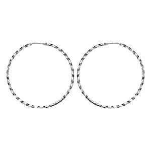 Créoles en argent rhodié fantaisies strié noir diamètre 37mm