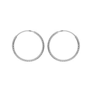 Créoles en argent rhodié fil diamanté en 1,5mm et diamètre 20mm - Vue 1