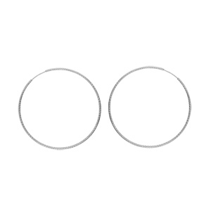 Créoles en argent rhodié fil diamanté en 1,5mm et diamètre 50mm - Vue 1