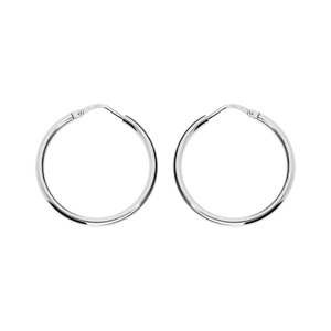 ff1039f9f8672 Créoles en argent rhodié fil lisse - diamètre anneaux 25 mm