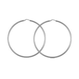 Créoles en argent rhodié fil lisse - diamètre anneaux 50 mm