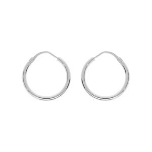 Créoles en Argent rhodié fil lisse en 2mm et diamètre 20 mm - Vue 1