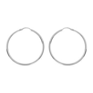 Créoles en Argent rhodié fil lisse en 2mm et diamètre 35mm - Vue 1