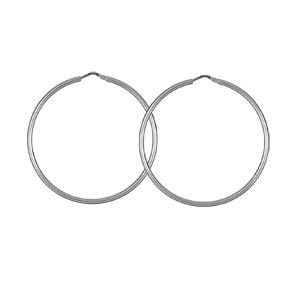 Créoles en Argent rhodié fil lisse en 2mm et diamètre 48mm - Vue 1
