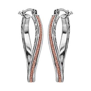 Créoles en argent rhodié ovale diamanté glitter rose