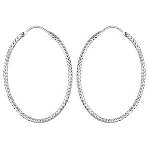 Créoles en argent rhodié ovale fil diamanté 40mm - Vue 1