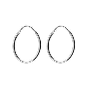 Créoles en argent rhodié ovale lisse dimensions 32x18 - Vue 1